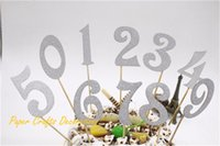 Wholesale Cake Number - Wholesale-5CM 10pcs lot (0-9) Silver Glitter Numbers Cupcake Topper Kit Personalized Wedding Birthday Cake Party Decorations