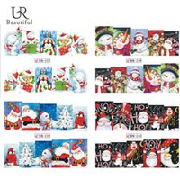 Wholesale Merry Christmas Nail - Wholesale- 1Sheet Merry Christmas Full Wraps Nail Art Water Transfer Stickers Nail Tips Decals Beauty Manicure Nail Decor BN237-240