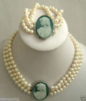 Wholesale Pearls Cameo Necklace - 3 row 7-8mm White Akoya Pearl Cameo Necklace Bracelet
