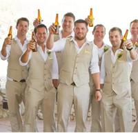 Wholesale Men Beach Wedding Suit - 2017 Autumn Spring Groom Wear Beach Wedding Men Suits waistcoat and pants Groomsmen Suit Groom Tuxedos (Vest+Pants+Tie)