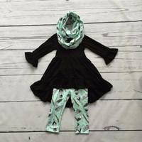Wholesale Boy Suit Scarf - Wholesale- FALL Winter scarf set children suit baby girls mint black print feather 100% cotton 3pieces long sleeves pants boutique clothes