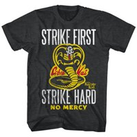 Wholesale Black Strike - KARATE KID STRIKE HARD BLACK HEATHER T-Shirt T Shirt Hot Sale Clothes Newest 2017 Men'S Fashion