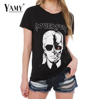 Wholesale women punk rock shirts - Wholesale-Summer t shirt women tops skull printed Karl black punk rock short sleeve o-neck casual t-shirts women tees 2016 new tops