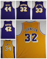 Wholesale Cheap 42 - Mens Retro 32 Magic Johnson Jersey Throwback 33 Kareem Abdul Jabbar Cheap Basketball Shirt 44 Jerry West 34 Shaquille ONeal 42 Artest Worthy