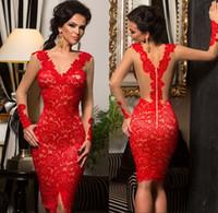 red nude illusion dress 도매-섹시한 짧은 작은 연예인의 칵테일 빨간 레이스 applique 누드 환상 긴 소매 동창회 복장 맞춤 제작