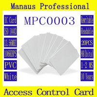 Wholesale magnetic card access control - Wholesale- New 20 PCS RFID Tag 13.56 MHZ Contactless High Frequency IC Card White PVC Access Control Attendance Card Wholesale High Quality