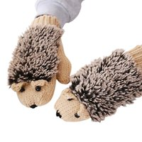 Wholesale Heat Mouse - Wholesale- WANAYOU Winter Warm Gloves Women Cute Cartoon Hedgehog Mouse Knitted Female Heated Gloves Mittens Gants Femme Guantes Mujer