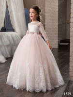 Wholesale Christmas Model Girl - 2017 Lovely Pink Flower Girl Dresses With sash lace appliques ball gown for girls pageant gown puffy first communion dress