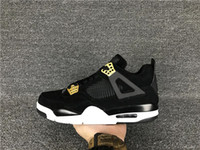 Drop Shipping Wholesale Retro 4 Royalty Black Gold Suede Hommes Basketball Sports Shoes Sneakers 4S IV Livraison gratuite avec taille de boîte 36-47
