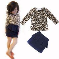 Wholesale Long Short Leopard Dress Chiffon - Wholesale- 2015 arrival Girls clothing set leopard short-sleeved shirt + denim skirt suit children's clothes kids suit Plaid chiffon dress