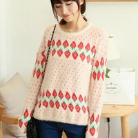 Wholesale Knit Strawberry - Wholesale-women's 2016 new autumn winter small fresh strawberries loose pullover mohair sweater coat Mohair knit jumper knitwear