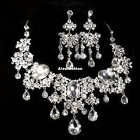 ingrosso forma della pera del rhinestone-Splendido design Dazzling Disperse Stone Drop Pear Shape Clear Color Cubic Rhinestone Crystal Set di gioielli da sposa per i regali del partito