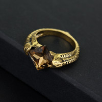 Wholesale Mysterious Tibet - Mysterious Lord Voldemort's Horcrux Ring The Resurrection Stone Marvolo Gaunt Vintage Deathly Hallows Dumbledore Black Crystal ring 080081