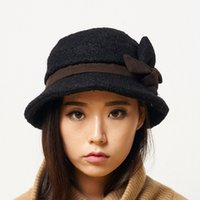 Wholesale Chapeu Bowler - Wholesale- Women Beret Cloche Fedora Winter Hat For Women Cap With Flower Bowler Headwear Felt Top Hat Solid Chapeu YF5005