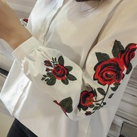 Wholesale Spring Blouse Flower - Rugod 2017 Spring Shirts Women Turn-Down Long Sleeve Flower Embroidery Single-Breasted Blouses Lady Fashion Loose Tops Blusas