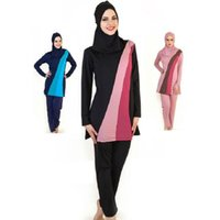 Wholesale Xxl Cover Ups - Wholesale 2017 Full Cover Up Womens Modest Muslim Swimwear Girls Conservative Long Sleeve Islamic Swimsuit Bathing Suit Free Shipping