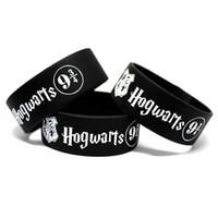Wholesale Id Wristbands - 20PCS Lot New Fashion Harry Potter Hogwarts 9 3 4 Silicone Wristband Bracelets Fans Gift Wholesale