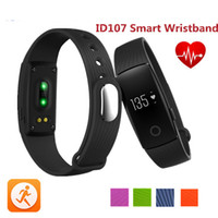 Wholesale 2017 Fitbit Smart Watch ID107 Bluetooth Smart Bracelet with Heart Rate Monitor Fitness Tracker Sports Wrist Watches for Android IOS
