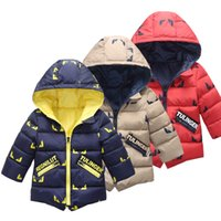 Wholesale Baby Boys Snowsuit - Baby Kids Clothing Outwear Coat 2017 winter Fashion boys Casual classic Warm Hooded Jacket Children Snowsuit Coat windbreaker
