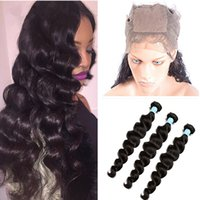 Wholesale Silk Based Top Closures - Pre Plucked Silk Base 360 Lace Frontal With Bundles Brazilian Loose Deep Wave Virgin Human Hair With Silk Top 4x4'' Lace Band Closure