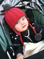 Wholesale Warm Santa Hat - New Christmas Europe Fashion Scarf Hat Cute Baby Girls Boys Caps Winter knit Sweater Crochet Warm Xmas Santa Cap For Baby Red A5809