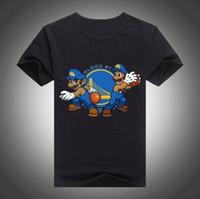 Wholesale Mario S Bros - Mario Super Splash Bros Cartoon t shirt short t-shirt summer tops Golden State top tee Stephen Curry Klay Thompson