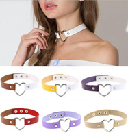 Wholesale Stainless Collar Necklace - NEW Fashion punk Jewelry sweet heart Necklace, Clear Transparent PU Leather Choker Punk Goth 100% Handmade Collar Necklace GG07