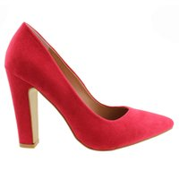 Wholesale Elegent Shoes - 2017 Fashion Women Office Dress Footwear 10CM UK Chunky High thick heeled Wedding ODM Ladies OEM Pumps elegent studed Pointed shoes