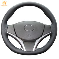 Wholesale Cars Toyota Vios - Mewant Black Genuine Leather Car Steering Wheel Cover for Toyota Yaris Vios 2014-2016