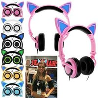 Wholesale Iphone Pink Replacement - Foldable Cat Ear Earphone LED Music Lights Headphones Replacement Earphone for Iphone 7 Samsung S8 S8+ all smartphone,tablets,music players