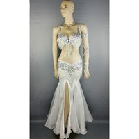 Wholesale Beaded Belly Dance Costumes - high quality belly dance costume wear stage performance 5-piece suit Beaded bra belt belly dancing skirt dress set