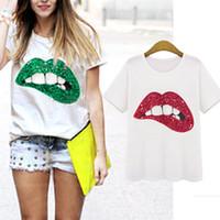 Wholesale Tops Red Lip Print - 2017 New Casual T-shirt Vestidos Printed Red Lips Green Lips Girls's Women's T-shirts Brand Summer Short Sleeve Loose Top Tee Shirt