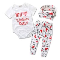 Wholesale Love Baby Clothes - Retail 2017 Ins New Valentines Day Baby Girl Three Piece Sets Love Heart Arrow Bodysuit+Pants+Headband Children Clothing 0-2Y B1657