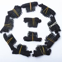 saç eklentileri klip rengi siyah toptan satış-50 adet siyah renk peruk tarak peruk klipleri ve taraklar 5teeth peruk kap ve peruk yapma tarak saç uzatma araçları