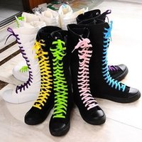 Wholesale Canvas Dance Boots - Wholesale-Women's Shoes Cross Straps Long Canvas Boots Flat High Side Zipper Dance Casual Canvas Shoes Men and Women 35-41