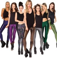 Wholesale Green Scale Leggings - Multicolor High Waist Elastic Fish Scale Stretched Fitness Pants Trousers Mermaid Leggings for Women Ladies Free Shipping