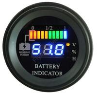 medidor de batería de 12v led al por mayor-Indicador LED redondo Indicador de descarga de batería digital Indicador de horas horquilla de carga, EV, 12V 24V 36V 48V 60V hasta 100V