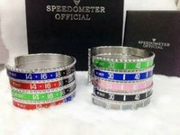 Wholesale Bangle Bracelets For Sale - (come with package)2018 Hot Sale 316L Titanium steel Pulseras Vintage Silver Plated Bangle for Men Stainless Steel Cuff Speedometer Bracelet