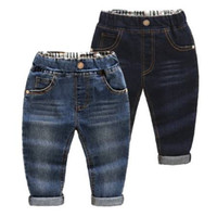 Wholesale New Style Jeans Pant Kids - 2-9Yrs baby pants jeans denim boys jeans trousers navy blue kids soft regular spring autumn children 2017 new patch