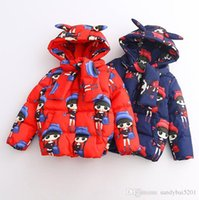 Wholesale Girls Spring Baby Jacket Children - Kids Girls Coat 2017 Winter Baby Girls Cartoon Print Hooded Coat Princess Outwear Infant Girls Full Sleeve Jacket Children Clothing S951