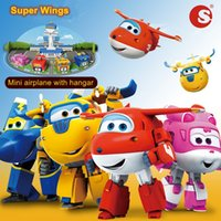 Wholesale Super Airplane Action Figures - Super Wings Mini Airplane with Hangar Robot Baby Toy Action Figures Transformation Animation Kids Superwings Robots Planes Children toys