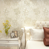 Wholesale Embossed Silk Fabric - Wholesale- Luxury Italian Silk Fabrics vintage 3D floral Wall Paper papel de parede Light Color Flower Wallpapers for bedroom Home Decor