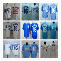 Wholesale Cheap Stitched Sports Jerseys - 1987 Throwback Kansas City Royals 16 Bo Jackson Jersey Gold Blue Stitched White 29 B.Jackson Baseball Sport Shirts Cheap,Mix Order
