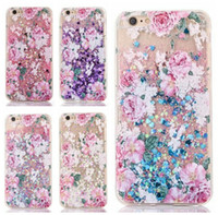 Wholesale Pink Bling High Heels - Flower Heart Bling Liquid Glitter Hard PC+TPU Case For Iphone 7 7P Plus 6 6S 6plus 6+ Quicksand Sparkle High-heeled shoes Moving Love Skins
