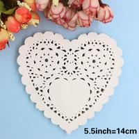 Wholesale Doily Hearts - Wholesale- 5.5'' White Heart Paper Lace Doilies Placemat Craft Wedding Tableware Decoration Scrapbooking Card Making 100Pcs Lot