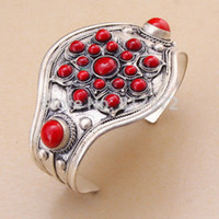 Wholesale Coral Cuff Bracelet - Wholesale- Retro Tibet Silver carved Flower inlay round red coral cuff bracelet guarantee Adjustable Party Gift &6YB00079