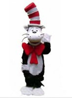 Wholesale Cat Mascot Costume Fancy Dress - Hot Custom made the cat in the hat Mascot Costumes cartoon character Costumes for Chirstmas Party Adult Size Fancy Dress free shipping