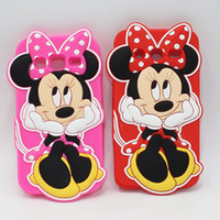 Wholesale Galaxy Grand Duos 3d Cases - 3D Cute Minnie Mouse Phone Bags Silicone Cases For Samsung Galaxy J1 mini J1 Ace J2 J5 J7 Prime Grand Duos i9082 Core Grand Prime G530 G360