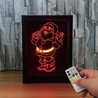 Wholesale Light Box Photo Frame - Santa Claus 3D Lamp LED Photo Frame Decoration Lamp IR Remote 7 RGB Lights DC 5V Factory Drop Shipping Color Gift Box