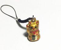 Wholesale japanese cartoon girls - Wholesale 50pcs Gold Lucky Cat Maneki Neko Japanese Bell 2.3 cm. Gold Rich Black Strap